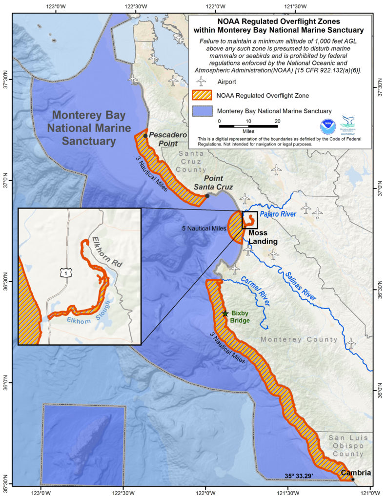 NOAA overflight restriction map for the Monterey Bay National Marine Sanctuary
